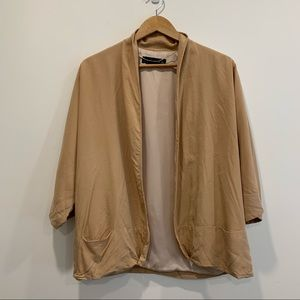 Zara draped open front blazer 3/4 wide sleeve nude